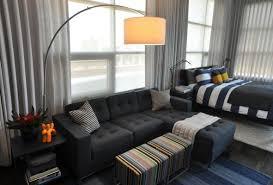 bedroom college bachelor bedroom ideas with arc floor lamp design