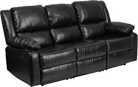 harmony series black leather sofa with two built in recliners bt