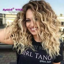 is island medium hair a wig synthetic dark roots medium length water curly wavy hair wig