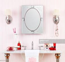 Striped Wallpaper Bathroom Luxury Bathroom With Pink Striped Wallpaper Stock Photo Getty Images