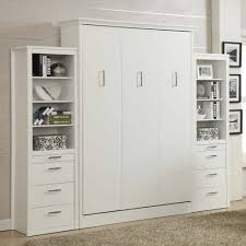 queen murphy bed cabinet stella queen murphy bed with 2 storage cabinets white mdh