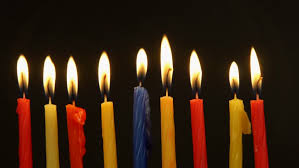 chanuka candles chanukah candles all in a row bright shiny multicolor candles