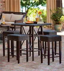 High Table Patio Furniture Outdoor Wicker And Metal Square Bar Table With 4 Matching Square