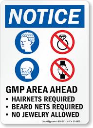 beard nets gmp area hairnets beard nets required no jewelry sign sku s2