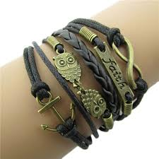 bracelet wristband images Antique bronze anchor rudder owl charm leather rope bracelet jpg