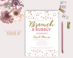 brunch party invitations pink gold bridal shower party invitation brunch and bubbly