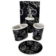 bathroom accessories set black and white decor