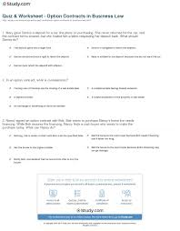 quiz u0026 worksheet option contracts in business law study com