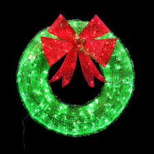 Home Depot Christmas Decoration home accents holiday 36 in green tinsel wreath with twinkling