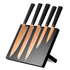 viners titan copper 5 piece knife set with block