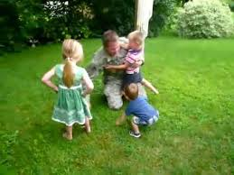 In Backyard Army Dad Comes Home Surprises Kids In Backyard Youtube