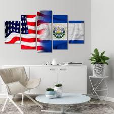 Flag El Salvador Usa And El Salvador Flag Multi Panel Canvas Wall Art Elephantstock