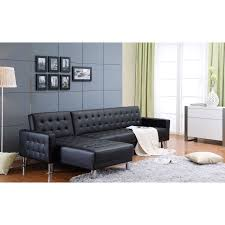plush sectional sofas marsden black tufted bi cast leather 2 piece sectional sofa bed