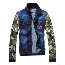 men denim jackets spring coats long sleeve young male camouflage