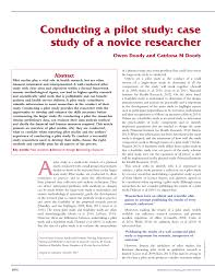 conducting a pilot study case study of a novice researcher