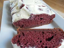red velvet banana bread with cream cheese icing drizzle me