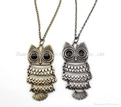 owl pendant necklace silver images Archaize antique gold and silver fashion owl pendant charm long jpg