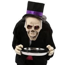 Butler Halloween Costume Animated Bobblehead Skeleton Butler Prop 3ft 386148