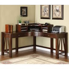 Laminate Flooring Corners Brown Polished Wooden Corner Computer Desk With Shelf And Three