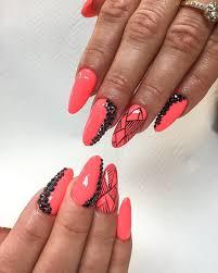halloween nail art almond shaped acrylic nail designs almond