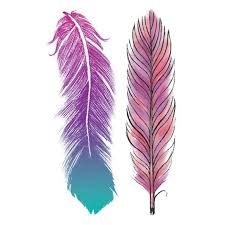 purple feather pastel feathers temporary tattoo