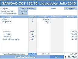 valores servicio domestico 2016 argentina sanidad liquidación de haberes julio 2016 cct 122 75
