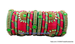 pista green color yaalz partywear bangles set in peach pink u0026 pista green colors