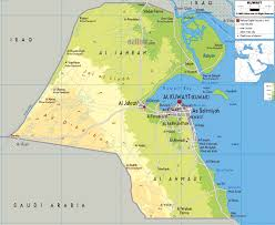 Physical Maps Large Physical Map Of Kuwait With Roads Cities And Airports