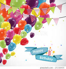 happy birthday card template with balloons and stock
