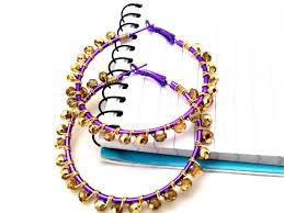 mardi gras earrings purple gold beaded hoop earrings aftcra