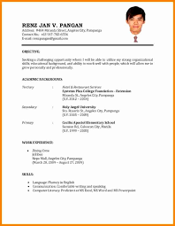exle resume for application format of resume for best of exle simple resume for