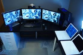 cool computer desk design ideas with black wooden table of and unique inspirations painting screen monitors white laptops keyboard shelf cpu draws gray