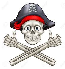 jolly roger pirate skull and crossbones giving a thumbs up royalty