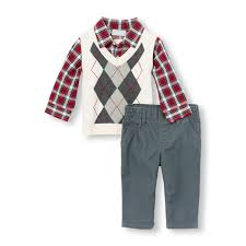 baby boys sleeve faux layer argyle sweater vest and