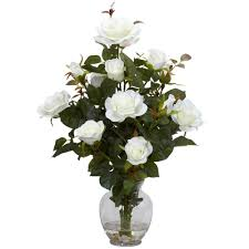 Fake Flower Centerpieces by 22 In H White Rose Bush With Vase Silk Flower Arrangement 1281 Wh