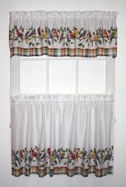 Curtains Set Songbirds Print Tailored Tiers Valance Window Curtains Set