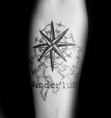 compass with wanderlust map inner forearm for guys eye