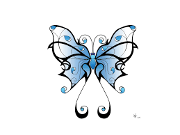 lovely blue shade tribal butterfly sketch for tattoomagz