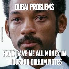 Meme Notes - when bank gave me all money in thousand dirham notes image