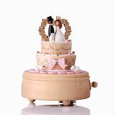 Wedding Gift Japanese Wedding Cake Music Box Wood Rotating Wedding Gift Clockwork Music