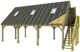 3 bay carport with a room above external staircase roof lights