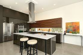 contemporary kitchen with high ceiling u0026 quartz counters in