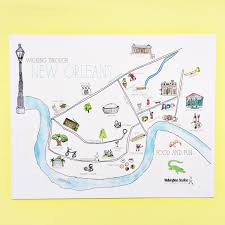 French Quarter New Orleans Map by Walking Through New Orleans Illustrated Map