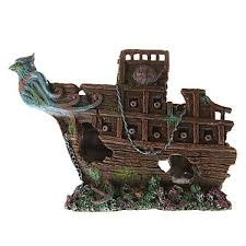 top fin bird sunken half ship aquarium ornament fish ornaments