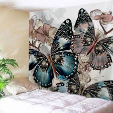 butterfly print home decor wall hanging tapestry colormix w inch