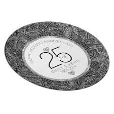 25th wedding anniversary plates 25th wedding anniversary white silver frame 3 dinner plate 25