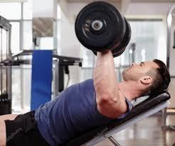 chest workout on bench press u2014 stock photo xalanx 45031723