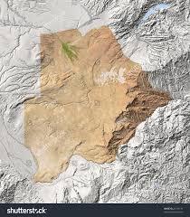 Botswana Map Botswana Shaded Relief Map Surrounding Territory Stock