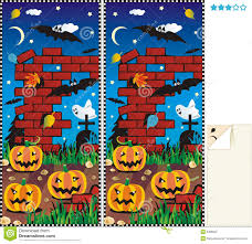 Spot Ten Differences Halloween Royalty Free Stock Photography