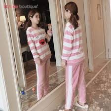 Sweater Pajamas New Two Pajamas Set Sleeve Sleepwear Thick Sweater